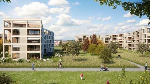 Rund 150 Eigentums- und Mietwohnungen sind in der Grüenmattin Emmen geplant. Visualisierung: PD