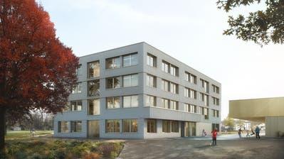 So könnte das neue Schulhaus einst aussehen. Visualisierung: PD