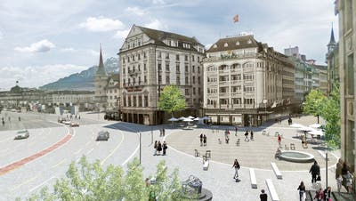 So könnte einCar-freier Schwanenplatz dereinst aussehen. Visualisierung: Stadt Luzern