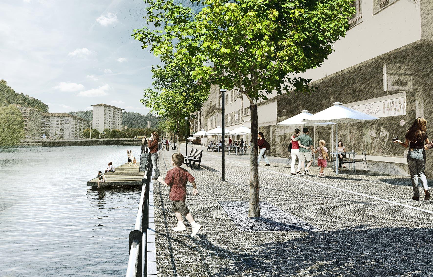 Mit Zugang zum Wasser: So könnte der St.-Karli-Quai eines Tages aussehen. Visualisierung: Stadt Luzern