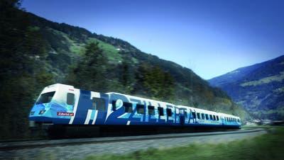 Visualisierung der Designstudie des weltweit ersten Schmalspur-Wasserstoffzuges, den Stadler für die Zillertalbahn fertigen wird.    Bild: PD