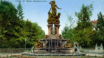 Der Broderbrunnen vor 1914. Auffällig sind die Blumenrabatten rund um den Brunnen. Und ebenfalls nicht mehr existent ist der überaus reichhaltige Baumbestand links und rechts des Oberen Grabens in Richtung Schibenertor. (Bild: Sammlung Reto Voneschen)