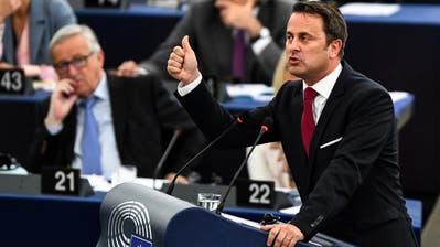 Luxemburgs Premier Xavier Bettel bei seiner Rede im EU-Parlament in Strassburg. (Bild: Patrick Seeger/EPA/Keystone (Strassburg, 30. Mai 2018))