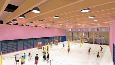 Diese Visualisierung gewährt Einblick ins Innere der geplanten Beachsport-Anlage. (Bild: PD)