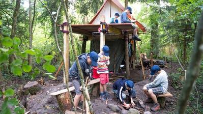 Kinder der Jungwacht Buttisholz haben im Giswiler Wald eine Zeltstadt errichtet. (Bild: Roger Grütter, 9. August 2017)