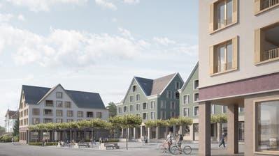 Rund um den Arnegger Dorfplatz sollen Wohn- und Gewerbehäuser entstehen. (Visualisierung: PD/Viola Architekten)