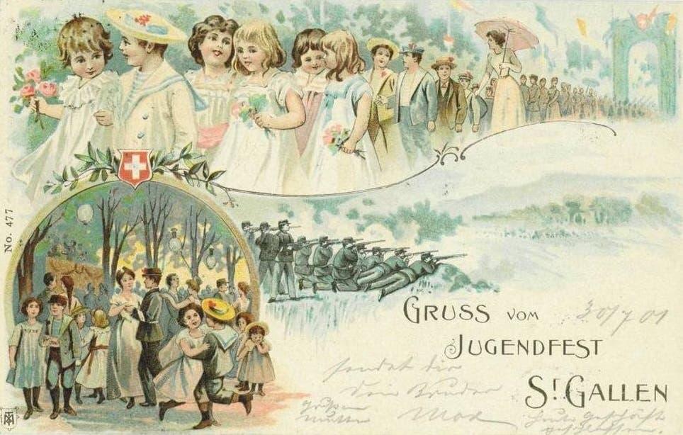 Weniger martialisch kommt die am Jugendfest vom 30. Juli 1901 verschickte Grusskarte daher. Der Umzug mit den Blumenmädchen und die Abendunterhaltung sind hier zentrale Elemente.