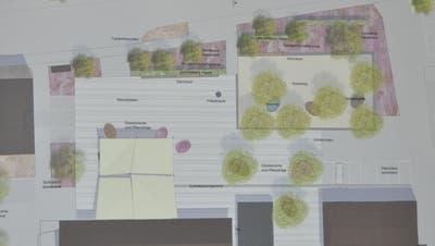 Die Ideenskizze sieht vor, den Platz vor dem Schuppen mit einem anderen Belag hervorzuheben. Das Pärkli soll ausgeebnet werden und einen Parkcharakter mit Bänken und Bäumen erhalten. Bild: Sabine Schmid