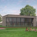 Das geplante Garderobengebäude aufdemAmriswiler Sportplatz Tellenfeld in einer Visualisierung. (Bild: PD)