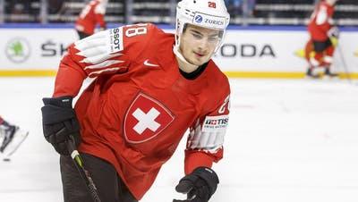 Timo Meier spielte an der Eishockey-WM in Dänemark erstmals für die A-Nationalmannschaft. (Bild: KEY)