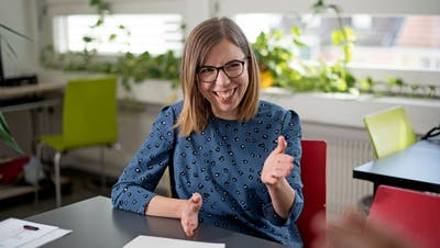 Céline Dori, Präsidentin des Trägervereins Integration Schwerhörige und Gehörlose. Bilder: Corinne Glanzmann (Luzern, 22. Juni 2018)