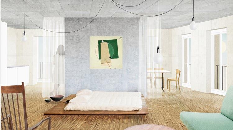 So könnte eineJokerwohnungin der Teiggi-Überbauung dereinst aussehen. (Visualisierung: Raumfalter Architekten Zürich/Lukas Murer)