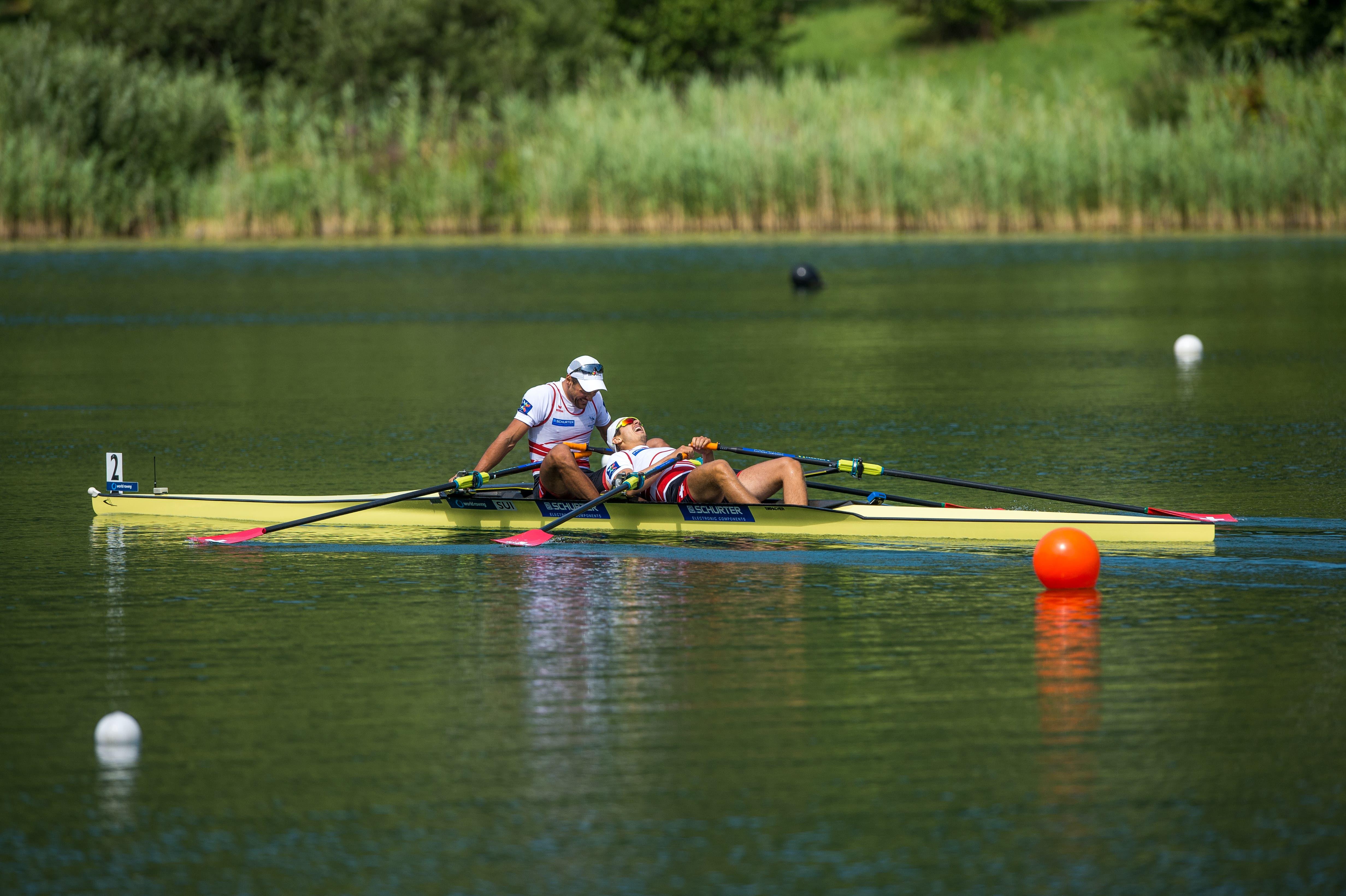 Dritter Platz bei den Männer Doppel für die Schweizer Nico Stahlberger (links) und Roman Röösli. (Bild: Dominik Wunderli (Luzern, 15. Juli 2018))