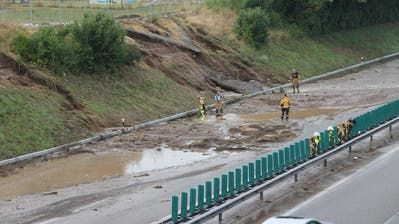 Das gab es im Frühjahr 2015 schon einmal: Die A1-Einfahrt in Richtung Zürich ist überflutet. (Bilder: Andrea Häusler)