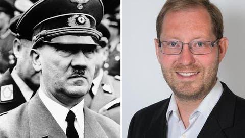 Der Thurgauer Politiker Thomas Keller (rechts) nimmt Adolf Hitler in Schutz. (Bild: pd)