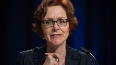 Economiesuisse-Direktorin Monika Rühl Anfang Mai an einem Podium zur Stellung der Schweizer Industrie in Europa. (Bild: Davide Agosta, Keystone)