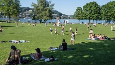 Bei schönem Wetter tummeln sich auf der Ufschöttiviele Personen (Symbolbild: Nadia Schärli (Luzern, 17. Mai 2017))