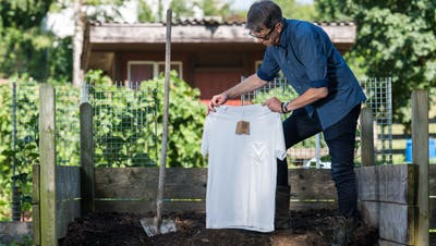 Calida-Produktmanager Harald Lenzinger präsentiert das kompostierbare «I love Nature»-Shirt.Bild: Eveline Beerkircher (Sursee, 20. Juli 2018)