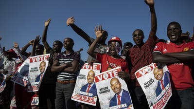 Anhänger von Präsidentschaftskandidat Nelson Chamisawährend einer Wahlveranstaltung. (Bild:Dan Kitwood/Getty Images (Harare, 28 Juli 2018))