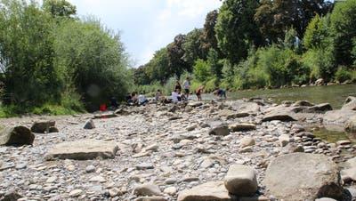 Wer sich an der Thur vergnügen will, klettert jetzt über mehr Steine bis zum Ufer. Dafür findet er auch mehr Sitzgelegenheiten. (Bild: Martin Knoepfel)