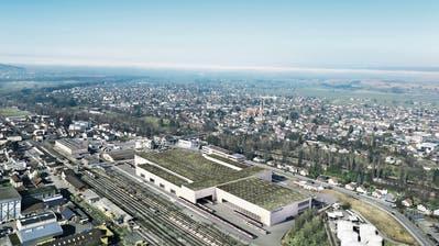 Mit 40 000 Quadratmetern Bruttogeschossfläche eine der grössten Fabriken, die in der Schweiz gebaut wird: So soll das neue Stadler-Produktionswerk auf dem Altfeldareal in St.Margrethen aussehen. (Visualisierung: HRS)