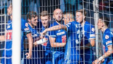 Die Luzerner feiern das 1:1 im Spiel gegenbeim Super League Meisterschaftsspiel zwischen dem FC Luzern und dem BSC Young Boys vom Sonntag 12. August 2018 in Luzern. (KEYSTONE/Urs Flueeler)