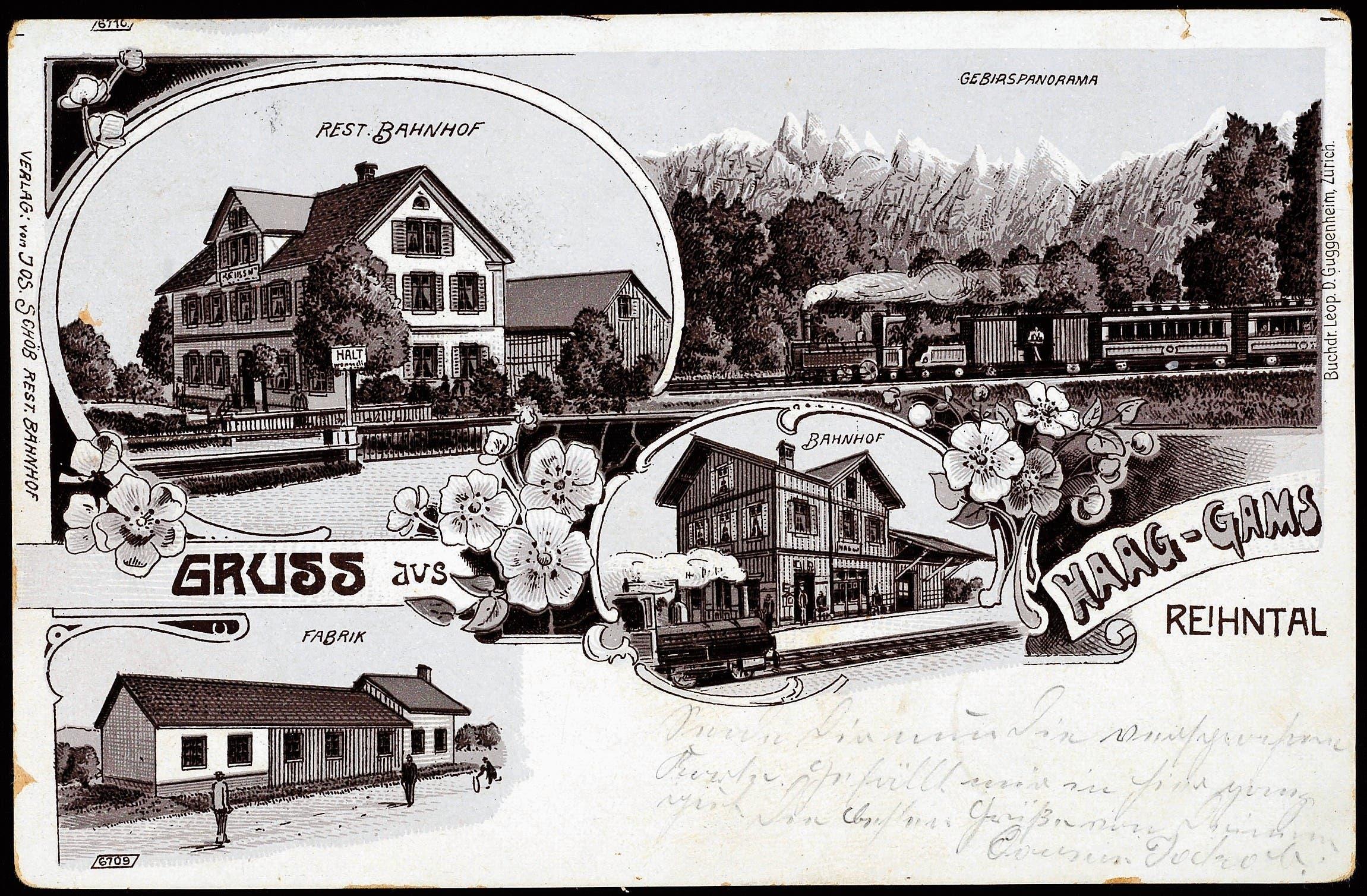 Postkarte 1903 im Verlag von Josef Schöb, Restaurant Bahnhof, mit Abbildung des Gasthauses. (Bilder: Archiv Hansruedi Rohrer)