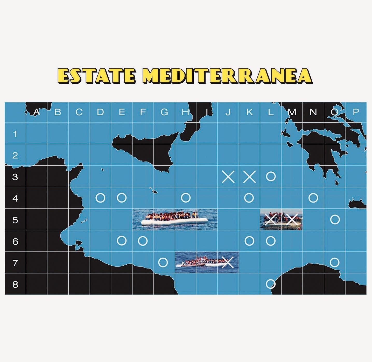 Sommer am Mittelmeer – das Schiffchenversenken-Spiel: Postkarte von Cinzia Bongino.