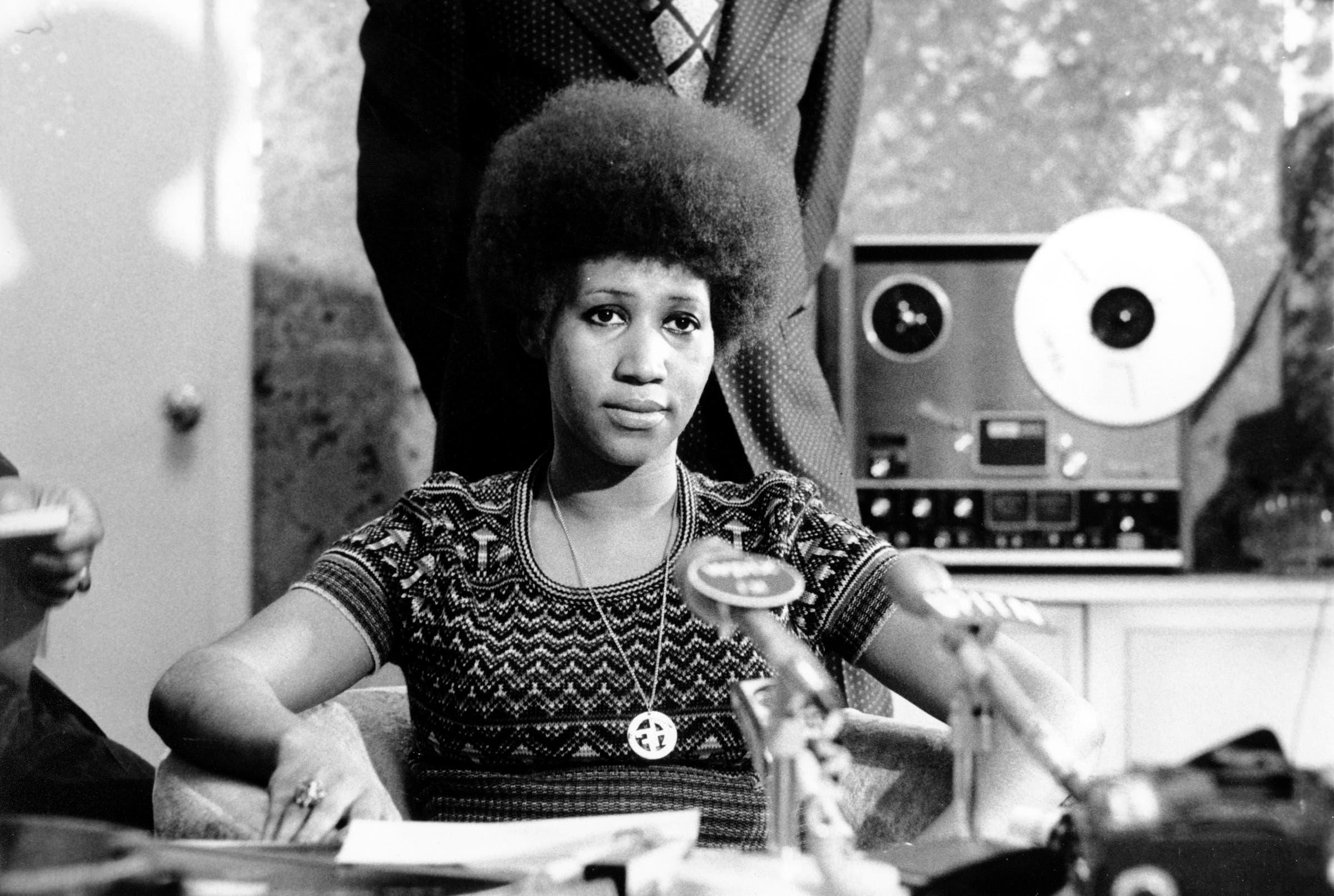 Aretha Franklin bei einer Pressekonferenz 1973. (Bild: KEYSTONE/AP Photo)