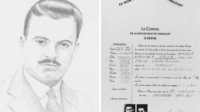 Ein Porträt des ehemaligen polnischen Konsuls in Bern, Konstanty Rokicki. Daneben ein Beispiel eines von Rokicki ausgefüllten, falschen Passes. (PD/ Archiv Yad Vashem)
