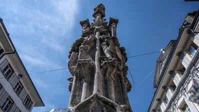 Der Weinmarktbrunnen in der Luzerner Altstadt steht unter Denkmalschutz. (Bild: Pius Amrein (2.August 2018))