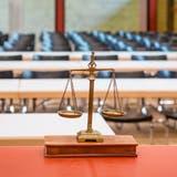 Der Gerichtssaal zum Mordfall Rupperswil bei der Mobilen Einsatzpolizei der Kantonspolizei Aargau im Kommando in Schafisheim bei Lenzburg. (Bild Chris Iseli/AZ; 7. März 2018)