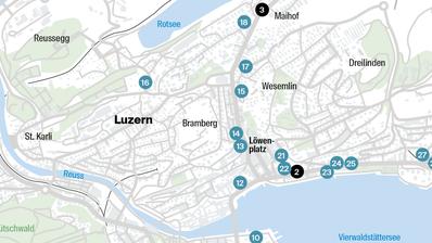 Die bereits umgesetzten (grün markiert) undfür 2019 geplanten Massnahmen (orange markiert) des Gesamtverkehrskonzepts in der Übersicht. Grafik: Stadt Luzern