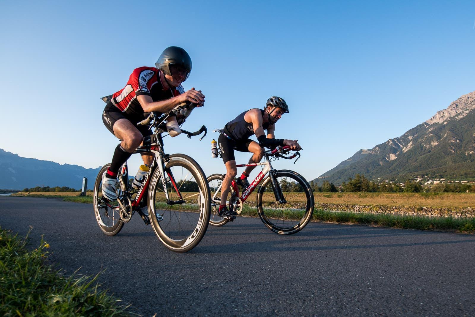 Die Bikestrecke führte dem idyllischen Rheindamm entlang.