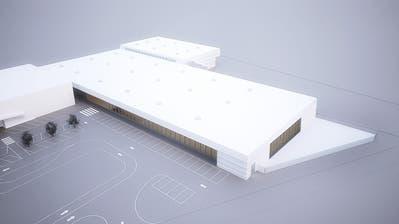 Die Visualisierung zeigt den geplanten Erweiterungsbau mit Blick von Südosten. Links davon befindet sich der heutige Thurgipark, im Norden der Bereich der Anlieferungen. Im Vordergrund eingezeichnet sind die Parkplätze des McDonald's.(Bild: PD/Theo Hotz Partner Architekten)