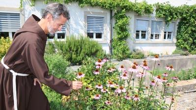 Bruder Benno Zünd im Klostergarten. Er ist ein Bewunderer der Echinacea purpurea (Roter Sonnenhut). Die Heilpflanze stärkt das Immunsystem. (Bilder: Hans Suter)