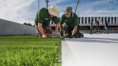 Holländische Arbeiter verlegen den neuen Kleinfeld-Rasen in Kriens. (Bild: Nadia Schärli, 10. September 2018)