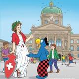 Globi mit der Helvetia auf dem Berner Bundesplatz.