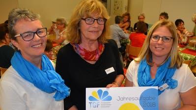 Präsidentin Katrin Schlaginhaufen, Ruth Dütsch, ehemalige Präsidentin, und Fabienne Maly, Sektion Dozwil-Kesswil-Uttwil. (Bild: Margrith Pfister-Kübler)