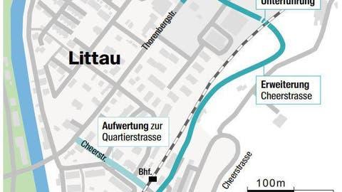 Auf diesem Abschnitt wird die Cheerstrasse umgebaut.