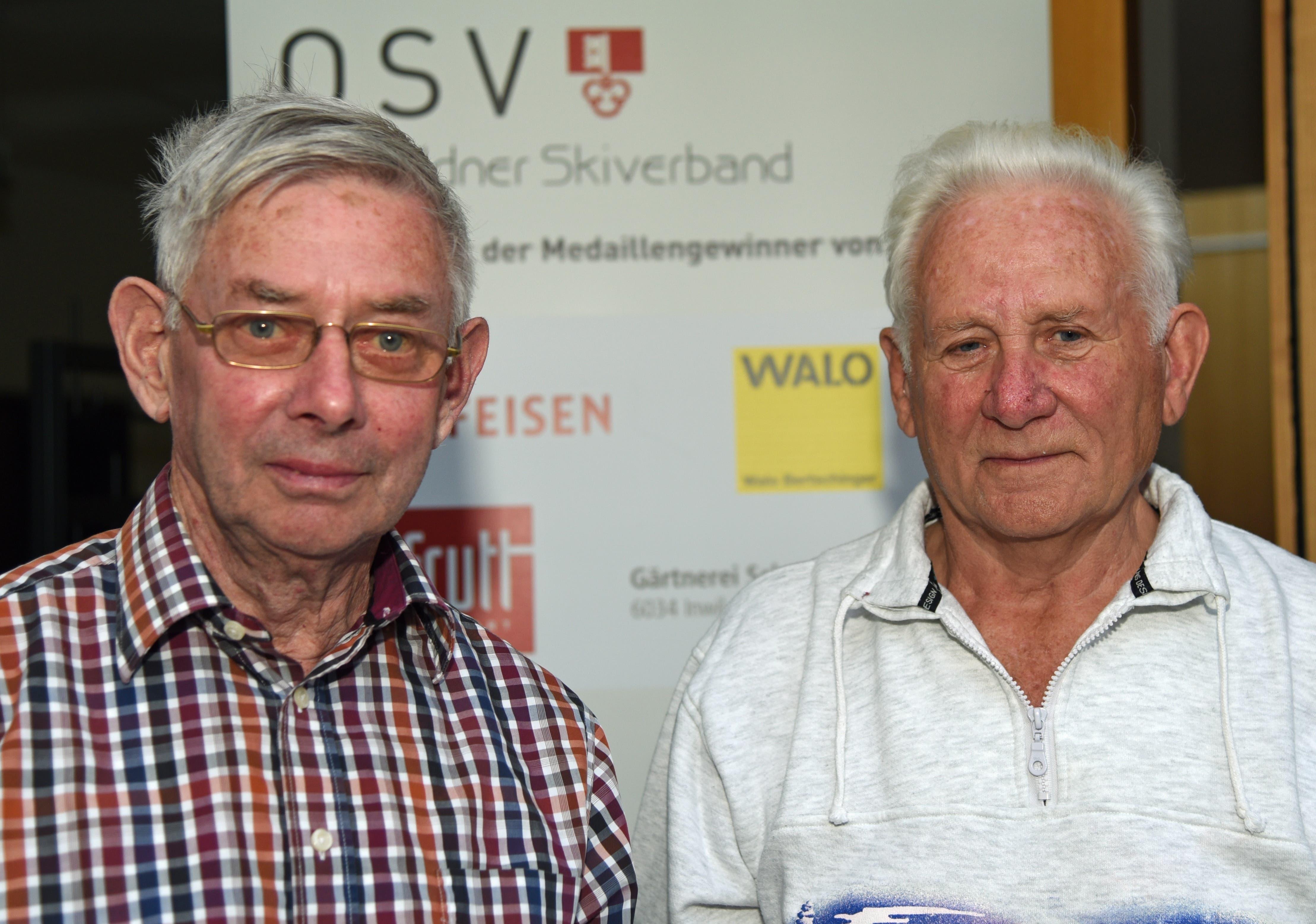 Hanswerner Müller, Sarnen (links, Präsident 1988 bis 1991) und Walter Berchtold, Giswil (erster Vizepräsident). Bild: Robert Hess (Sarnen, 15. September 2018)