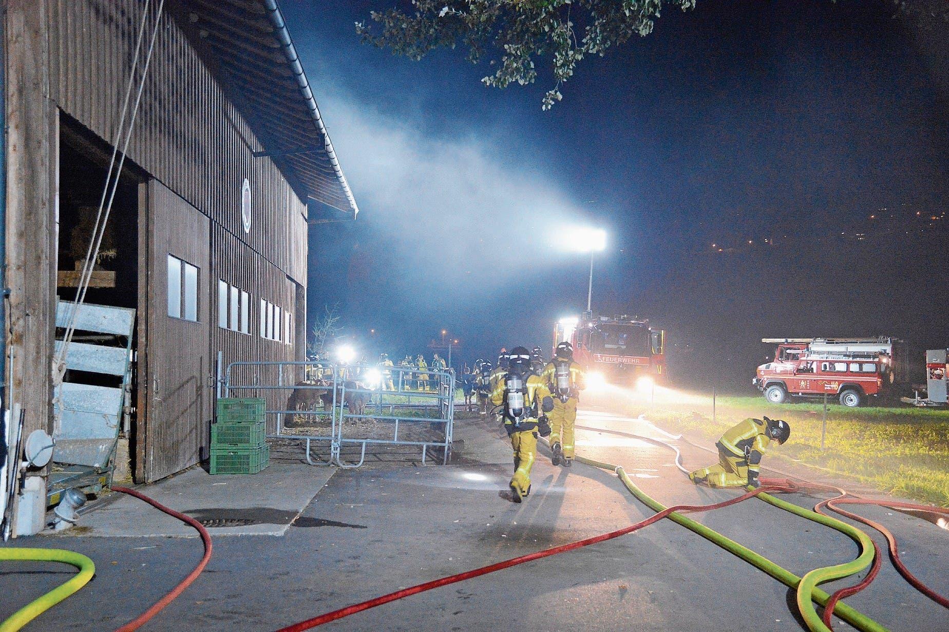 Hell erleuchtet: nächtlicher Übungseinsatz der Feuerwehr beim Ökonomiegebäude im Rufers. (Bild: Bilder: Hansruedi Rohrer)