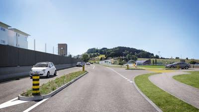 Die Umfahrungsstrasse «Spange Hofen» wird direkt am Sportplatz Kett vorbeiführen.(Visualisierung: ZVG Juni 2015)