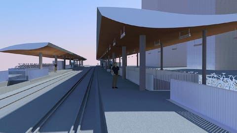 Die gestalteten Perrondächer am Bahnhof Mattenhof. (Visualisierung: Gemeinde Kriens)