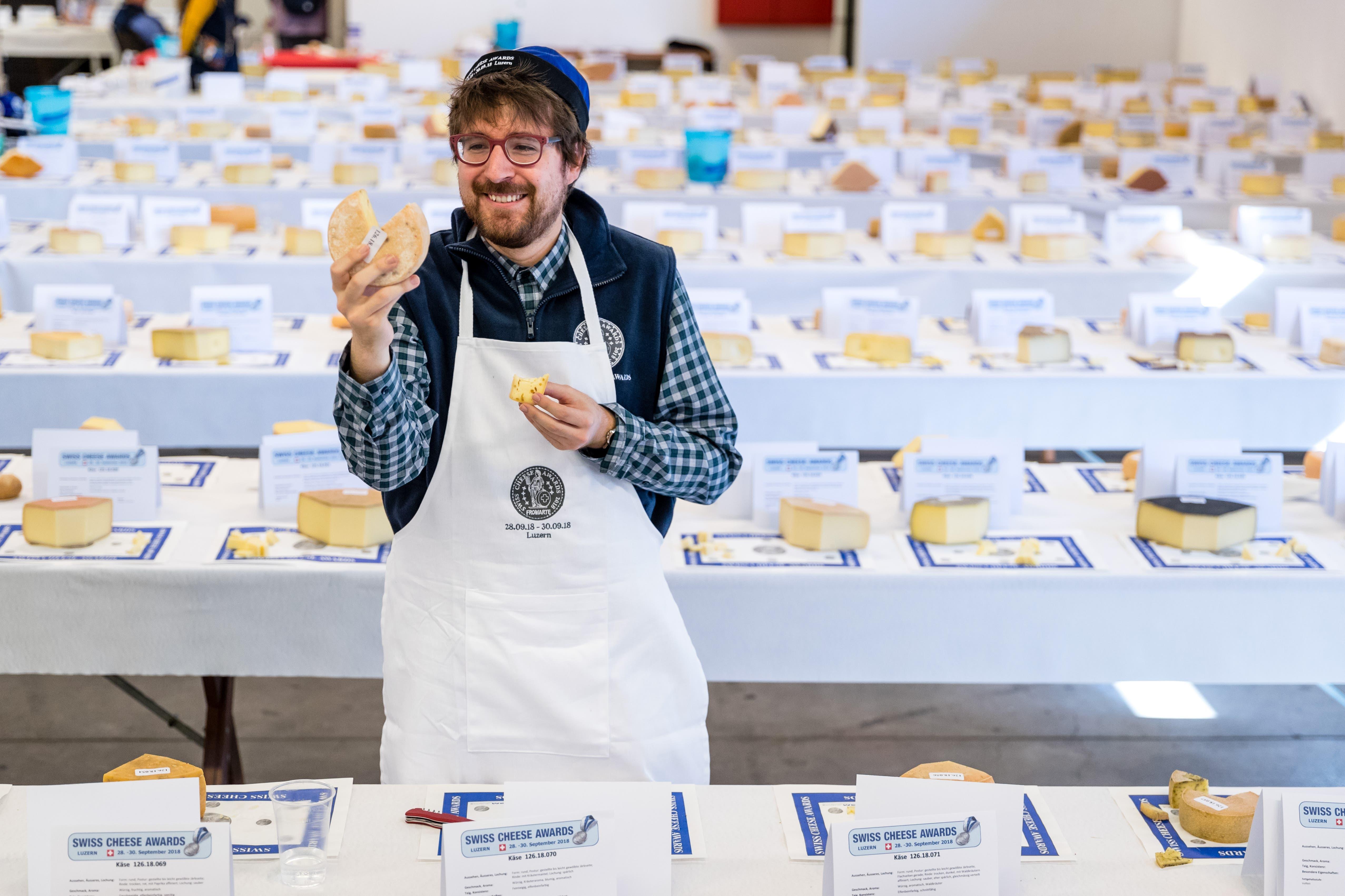 LZ-Journalist Simon Mathis kostet und bewertet Käse für den «Swiss Cheese Award» (Bild: Philipp Schmidli, 28. September 2018)