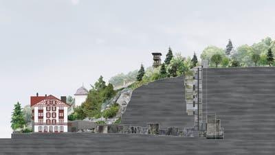 Neben dem Schweizerhaus entsteht der Felsweg mit Schacht zum Aussichtsturum. (Visualisierung PD)