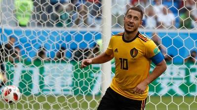Belgiens Eden Hazard jubelt nach einem Tor an der WM gegen England (Bild: David Josek / AP (St. Petersburg, 14. Juli 2018))