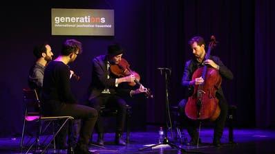 Das Kaleidoscope String Quartet in der Kantiaula. (Bild: Chris Marty/frauenfeld-events.ch)