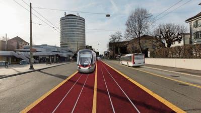 Eine Tramvision für die Rorschacher Strasse beim Grossacker aus einem Bericht der Stadt von 2016. (Bild: Visualisierung: Stadt St.Gallen)