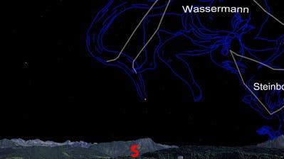So präsentiert sich der Astrohimmel am 15. September 2018 um Mitternacht vom Verkehrshaus mit Blickrichtung Süden. Links das Stanserhorn, rechts der Pilatus. Illustration: Verkehrshaus der Schweiz. Panorama: Stefan Blaser.